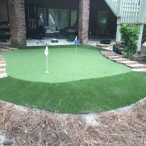 Synthetic turf for a larger installation